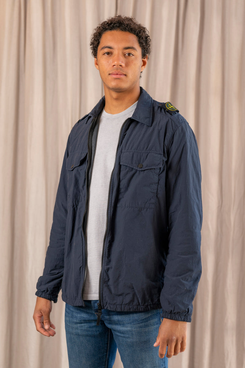 Overshirt with Flap Pockets in Blue Marine