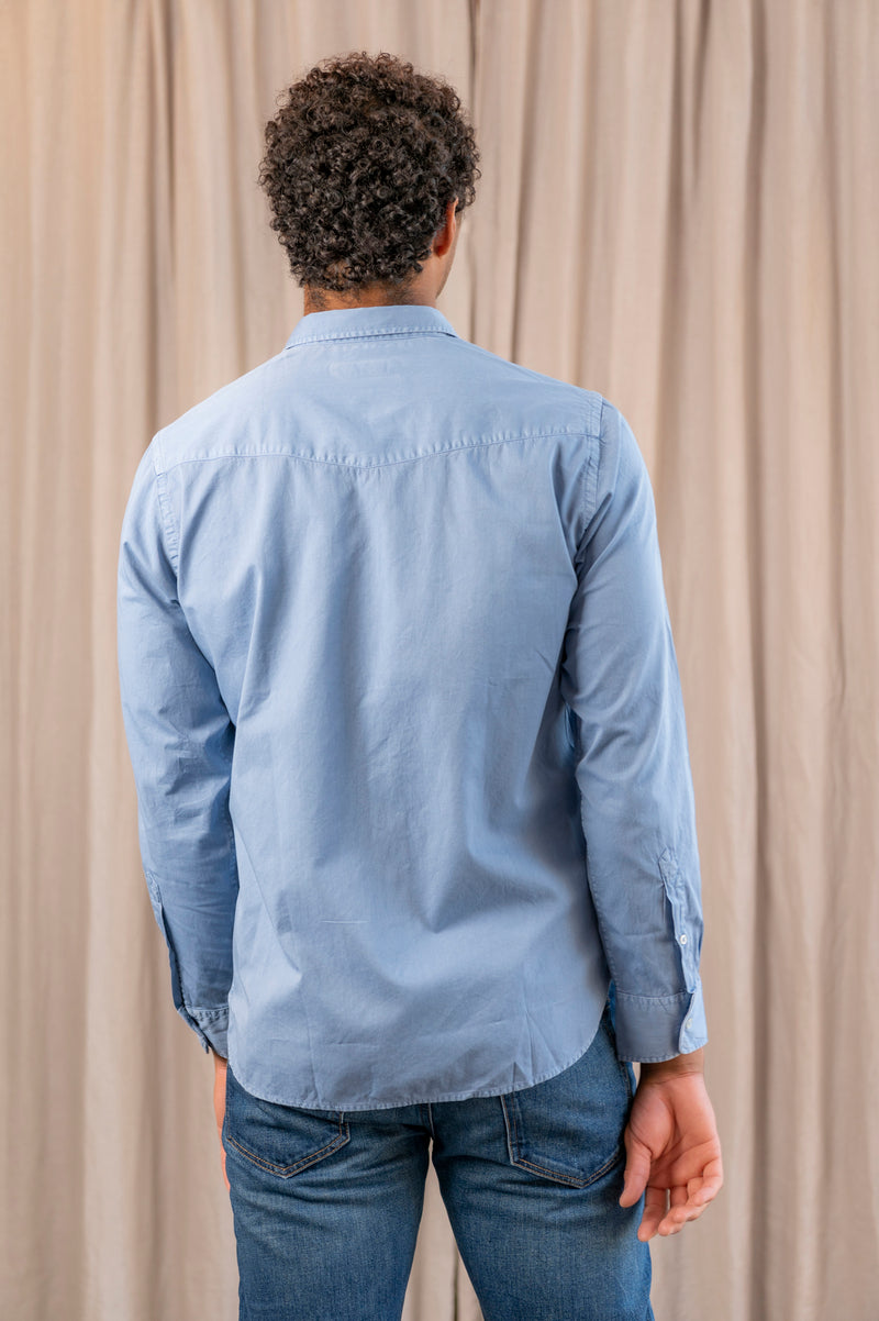 Lipp Stitch Pigment Dyed Twill Collared Button Down Shirt in North Sea