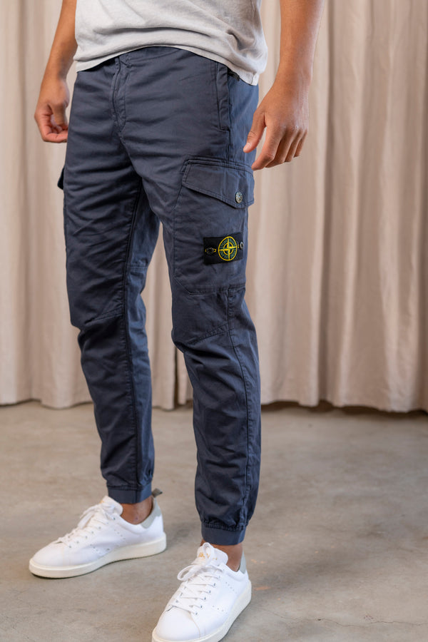 Pants with Side Pockets and Tie Waist in Blue Marine