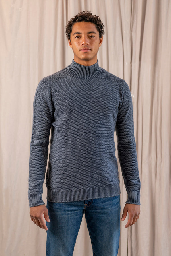 Foggy Mock Neck Top in Navy