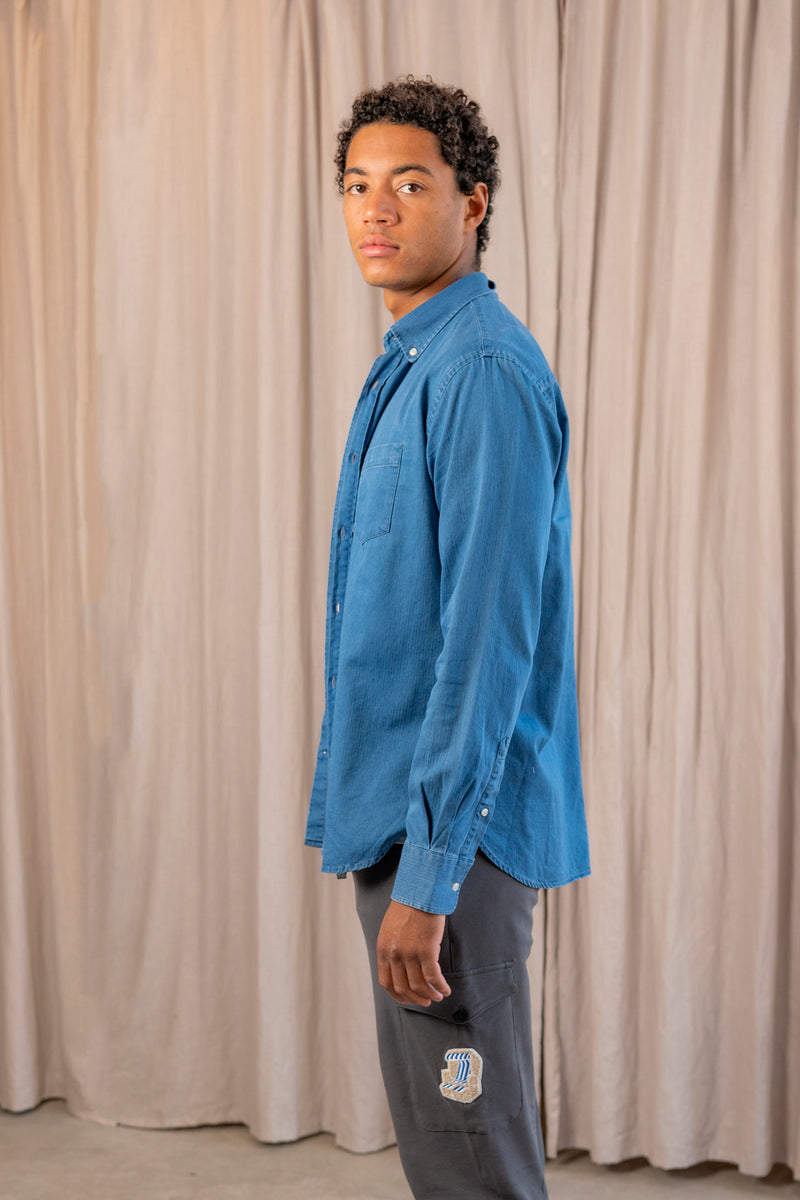 Antime Textured Cotton Shirt in Denim