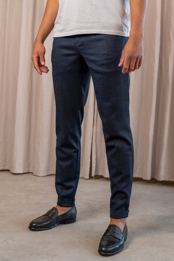 Smart Flannel Joggpant in Navy