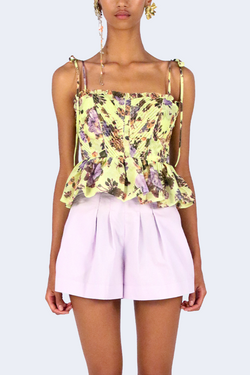 Effie Bouquet Printed Organza Top in Primrose