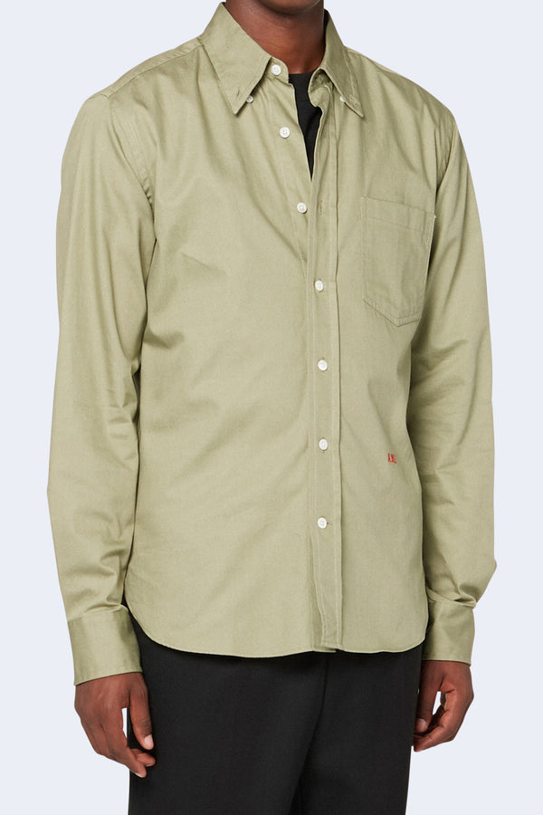 Embroidery Button Down Boy Fit Shirt in Sage