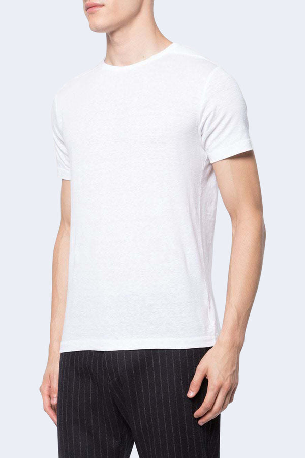 Eole Linen Short Sleeve T-Shirt in White