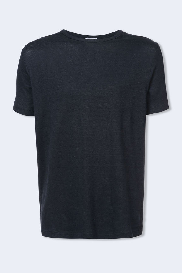 Eole Linen Short Sleeve T-Shirt in Navy