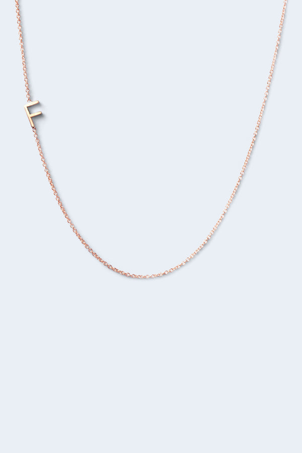 """F"" Alphabet Letter Necklace - Rose Gold"
