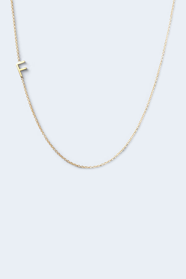 """F"" Alphabet Letter Necklace - Yellow Gold"