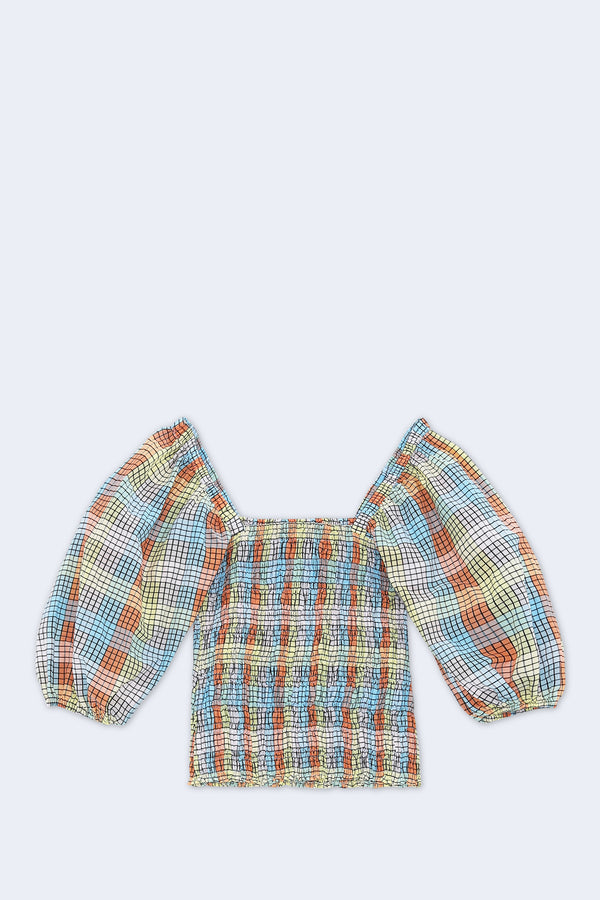 Seersucker Check Blouse in Multicolor