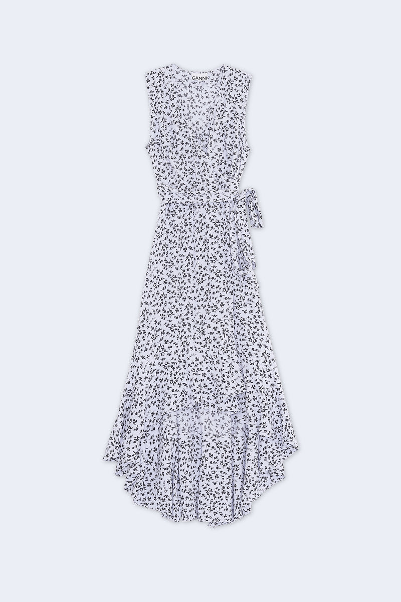 Printed Crepe Sleeveless Dress in Heather