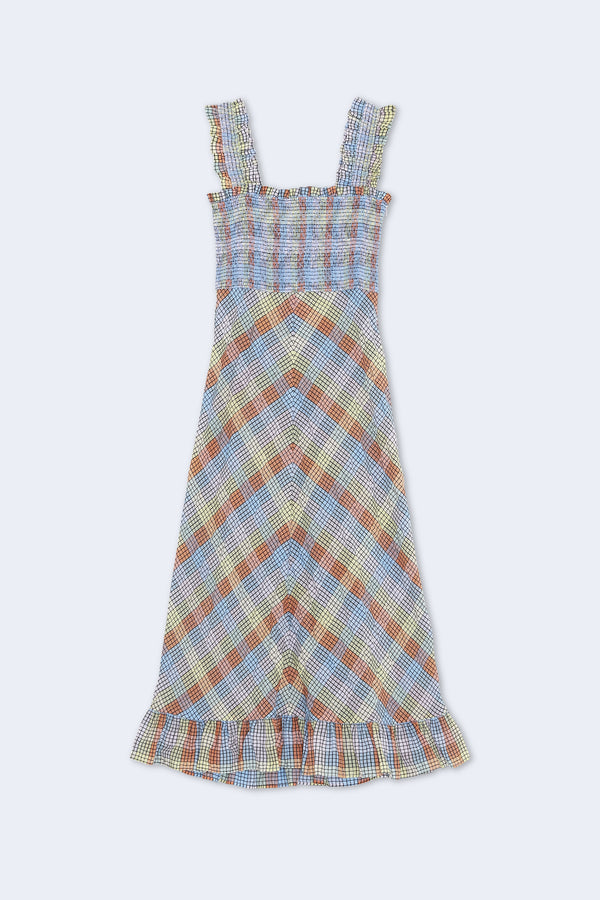 Seersucker Check Sleeveless Dress in Multicolor