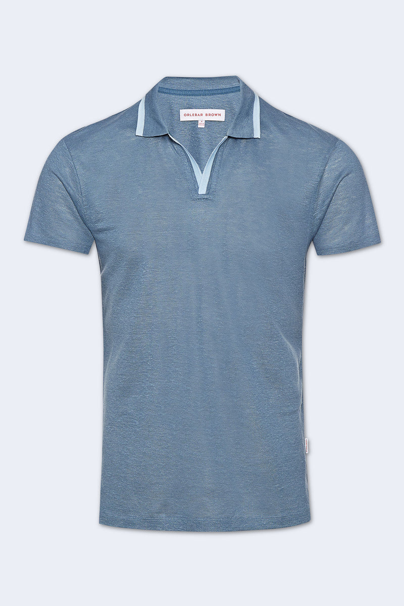 Felix Linen Pique Polo in Blue Haze Washed Indigo
