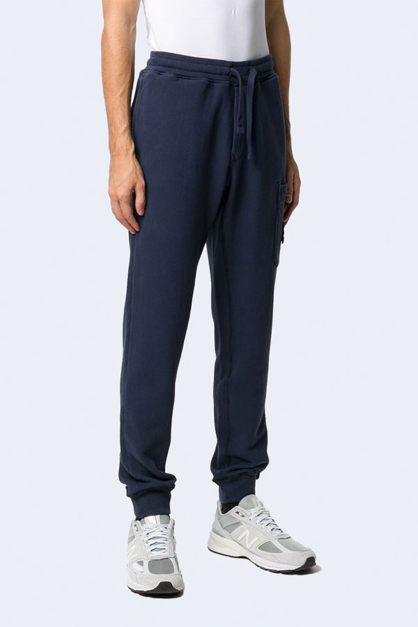 Fleece Pants with Tie Waist and Side Pocket in Blue Marine