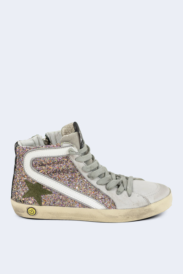 Francy White Canvas Pink Glitter Sneakers