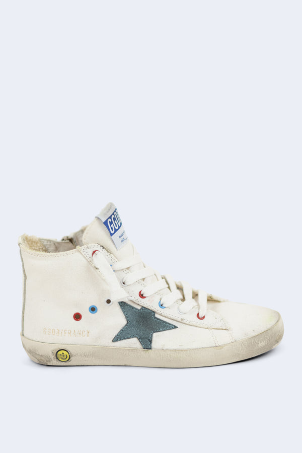 Francy White Canvas Teal Star Sneakers