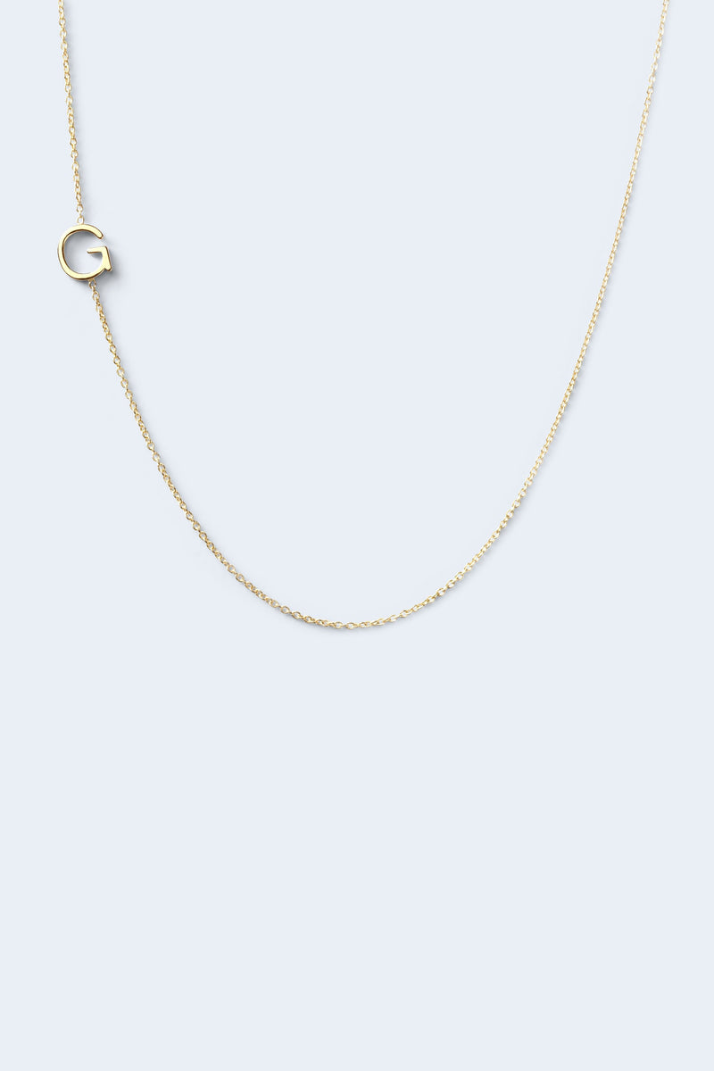"""G"" Alphabet Letter Necklace - Yellow Gold"