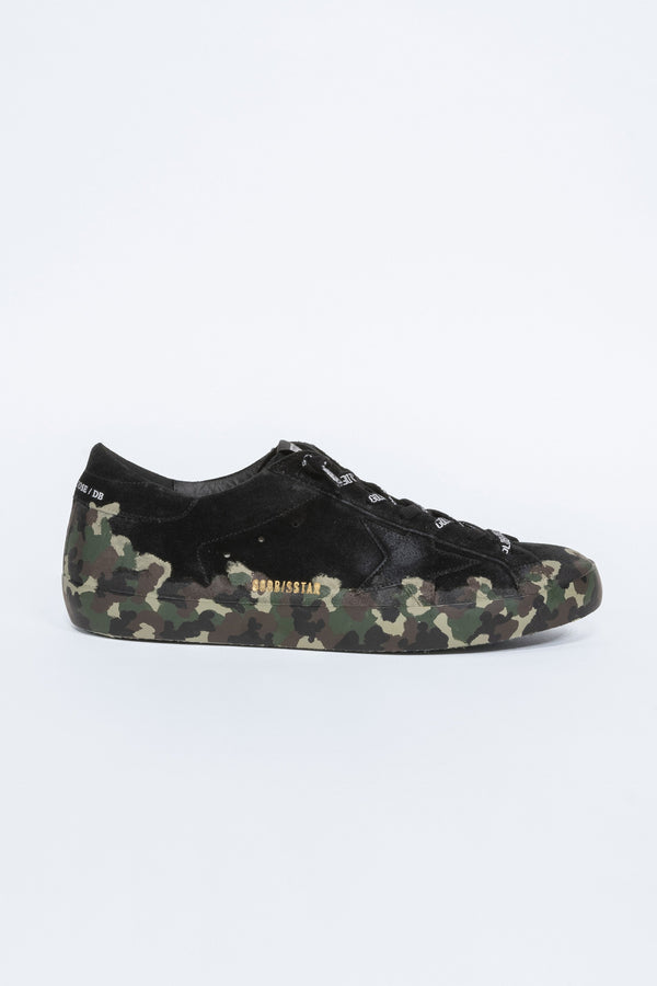 Black Leather with Camou Painted Superstar Sneakers