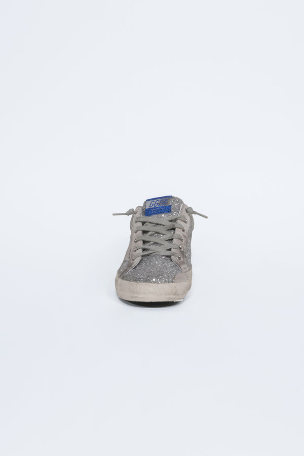 Silver Glitter Blue Ice Star Superstar Sneakers