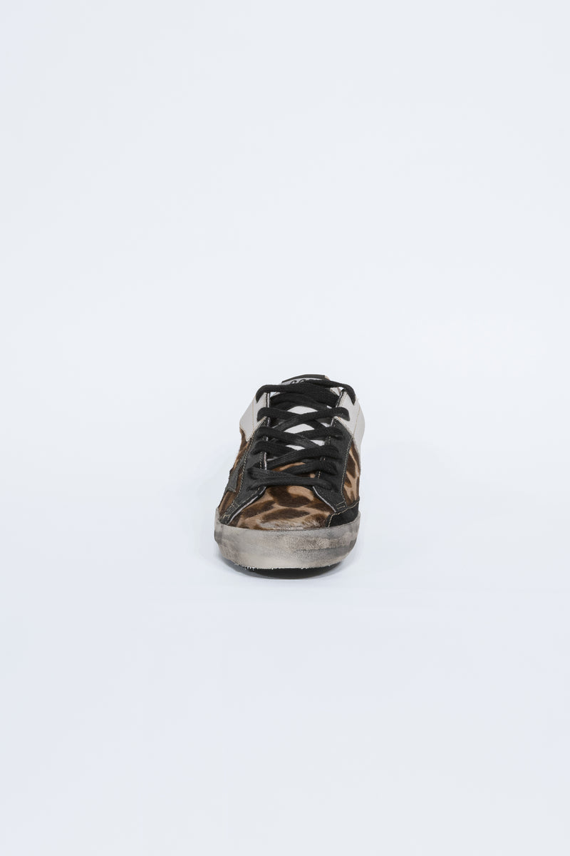 Superstar Leopard Patch Black Star Sneakers