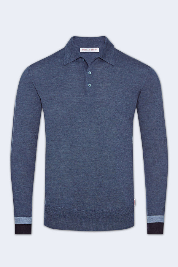 Gifford Knit Collar Long Sleeve Sweater in Blue Haze