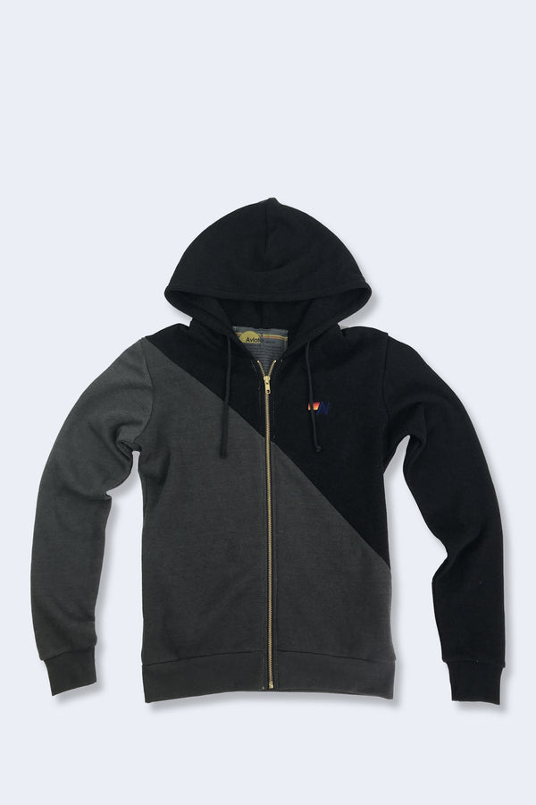Glider Zip Hoodie in Vintage Charcoal Black