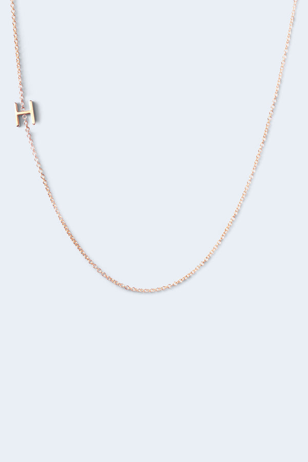 """H"" Alphabet Letter Necklace - Rose Gold"