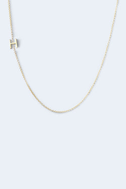 """H"" Alphabet Letter Necklace - Yellow Gold"