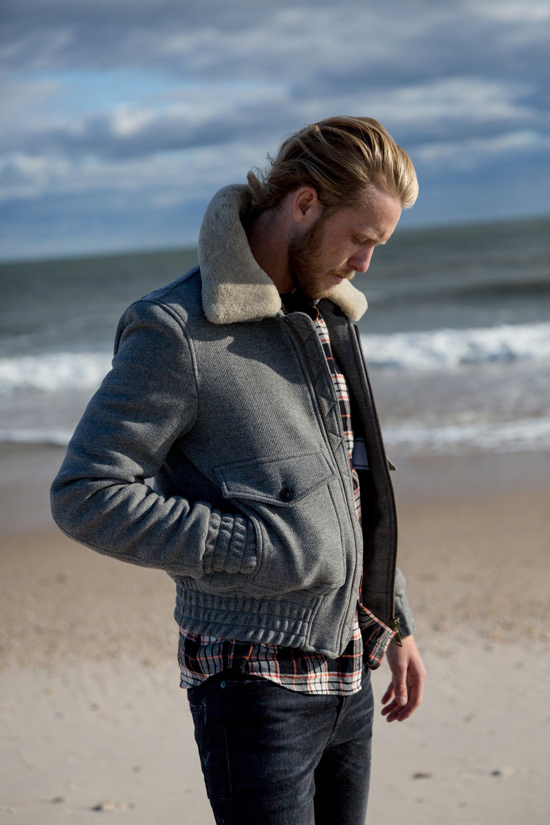 Shearling-Trimmed Aviator Jacket