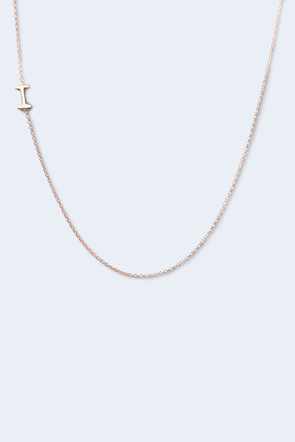 """I"" Alphabet Letter Necklace - Rose Gold"