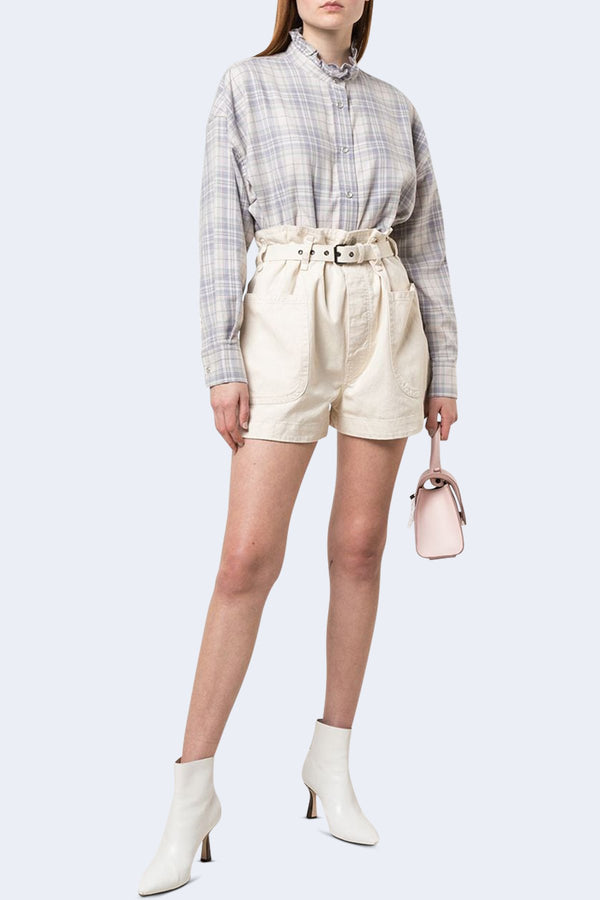 Ilaria Checked Button Down Shirt in Light Pink