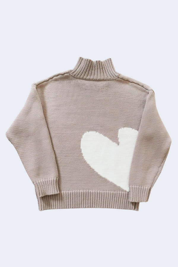 Imperfect Heart Cotton Mock Neck Sweater in Grey White