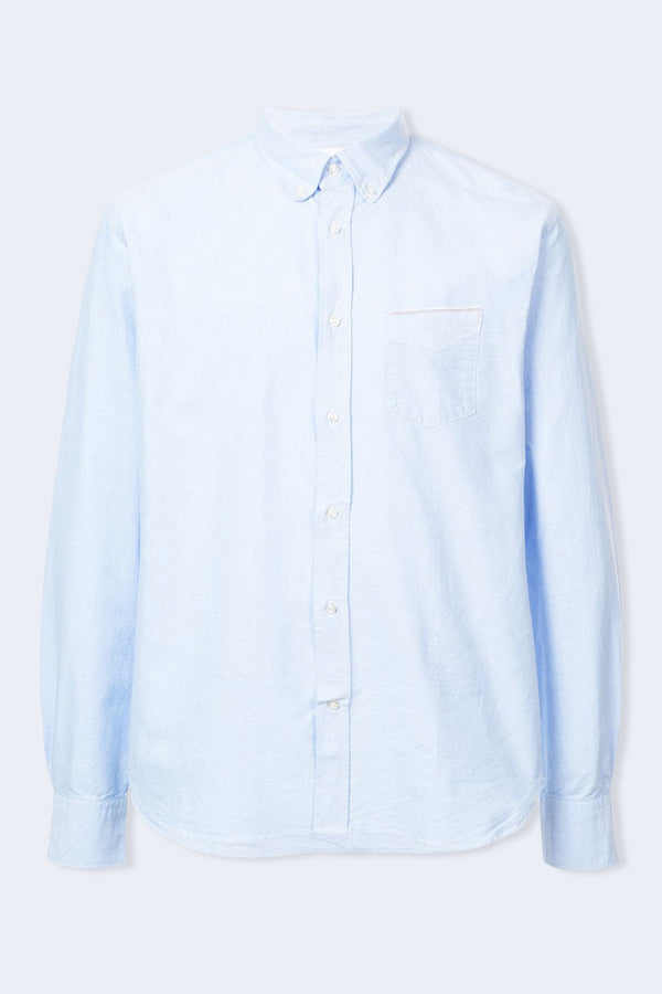 Japanese Oxford Selvedge Button Down Shirt in Sky