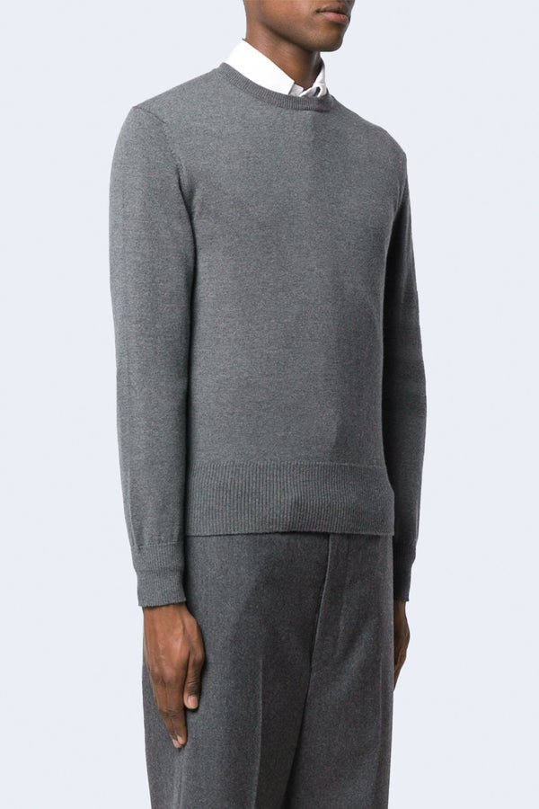 Jersey Stitch Crew Neck Pullover in Fine Merino Wool with Tonal 4 Bar Stripe