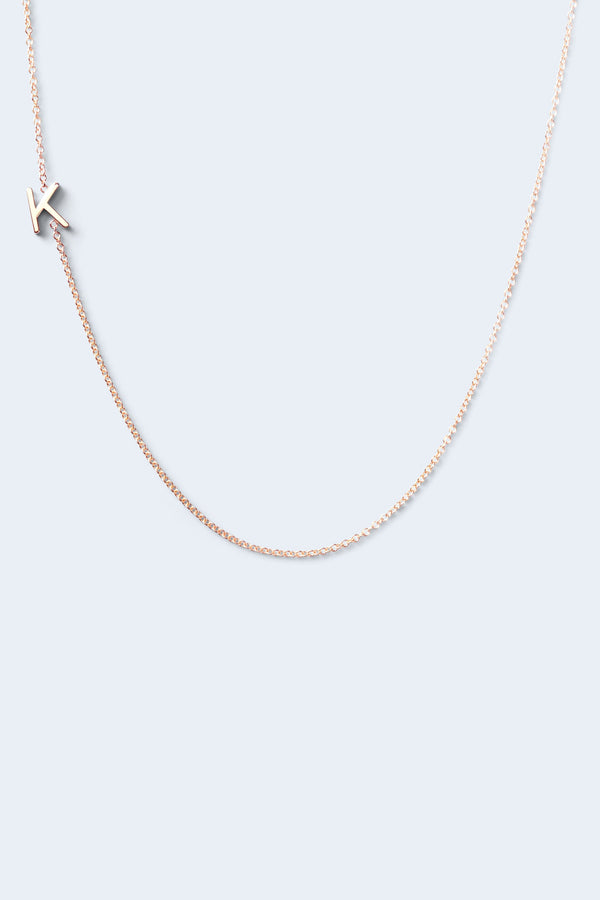 """K"" Alphabet Letter Necklace - Rose Gold"