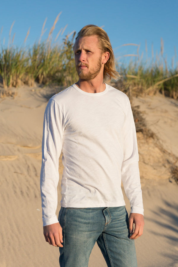 man modeling white Standard Slub Long Sleeve Tee
