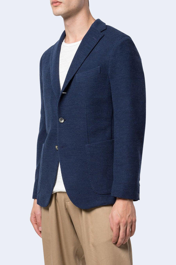 Knit Jersey 3 Button Jacket in Blue