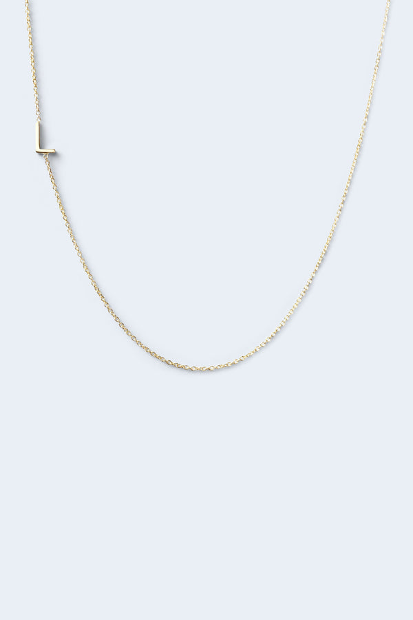 """L"" Alphabet Letter Necklace - Yellow Gold"