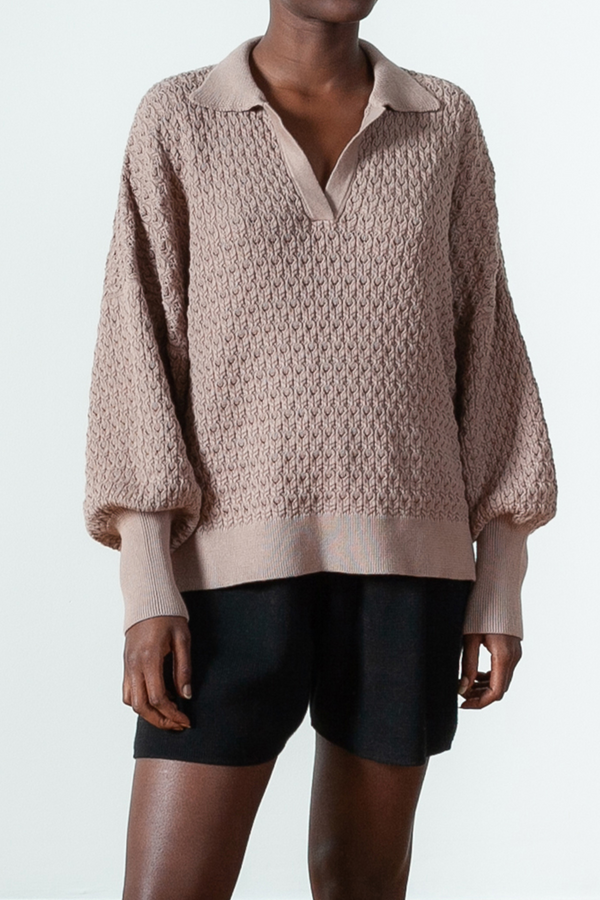 Lace Cotton Polo Sweater in Almond