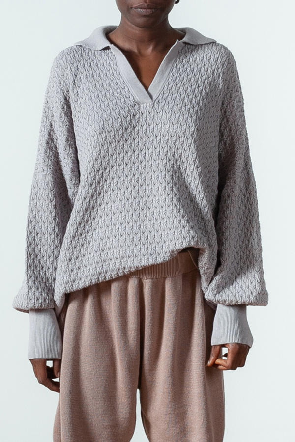 Lace Cotton Polo Sweater in Stone Grey