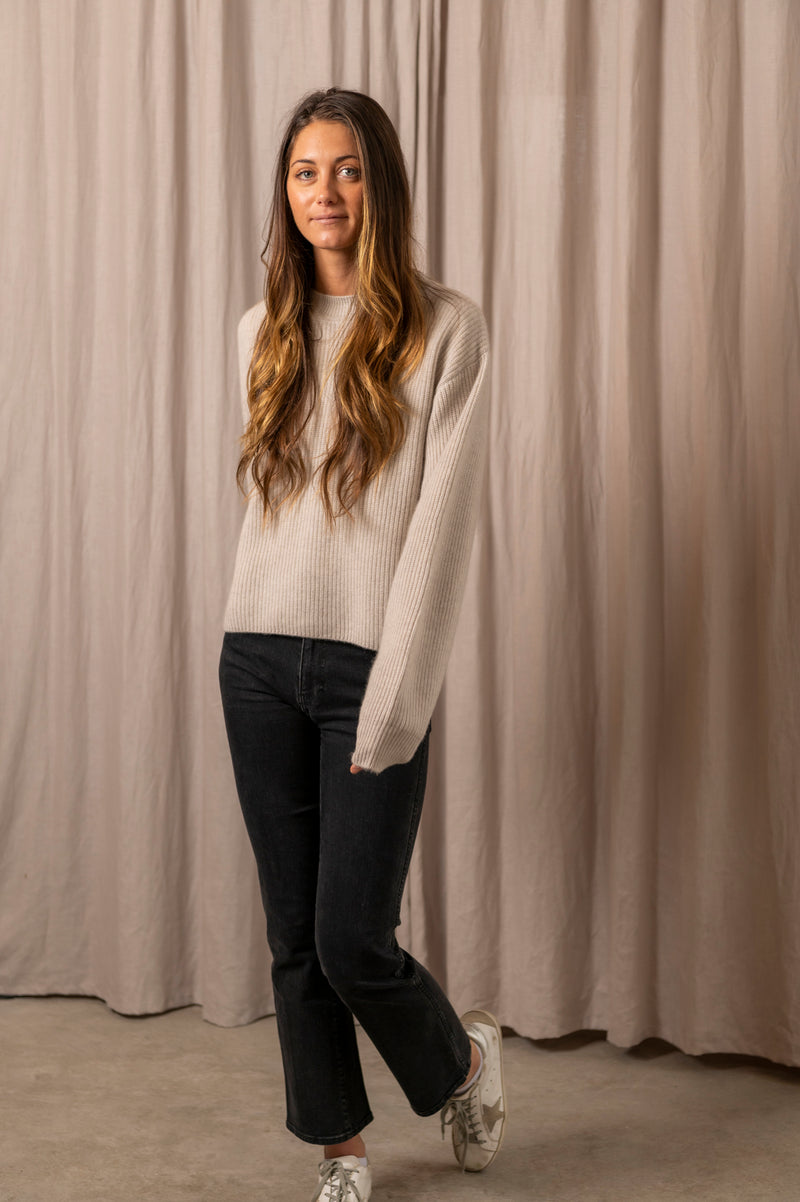 Socotra Ribbed Crew Neck Sweater in Light Beige