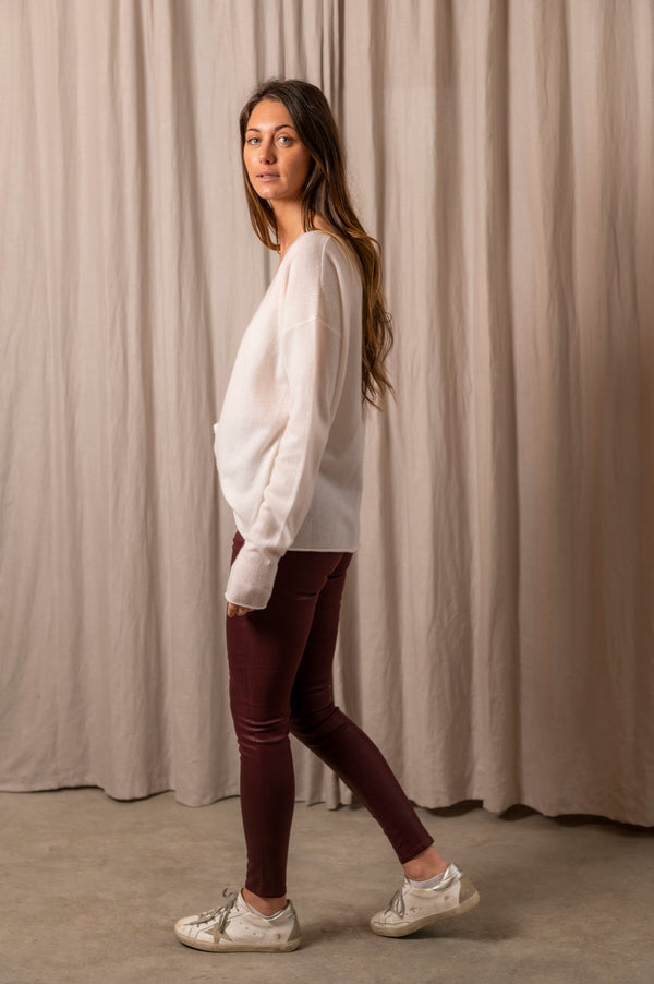 Light Weight V-Neck Sweater in White