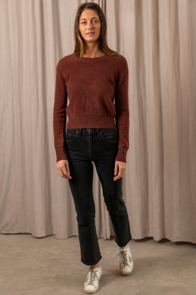 Cropped Crew Pullover in Autumn