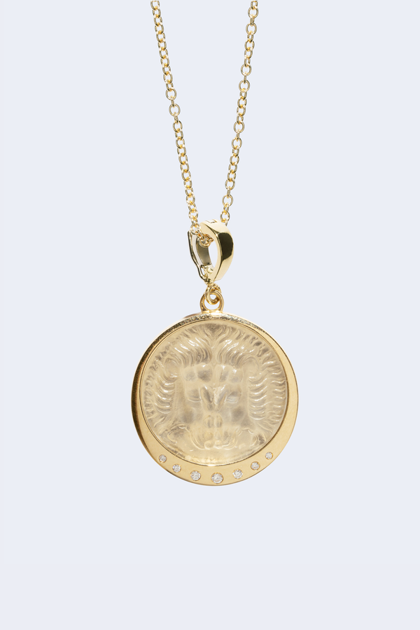 Lion White Glass Coin Necklace With Scattered Diamonds