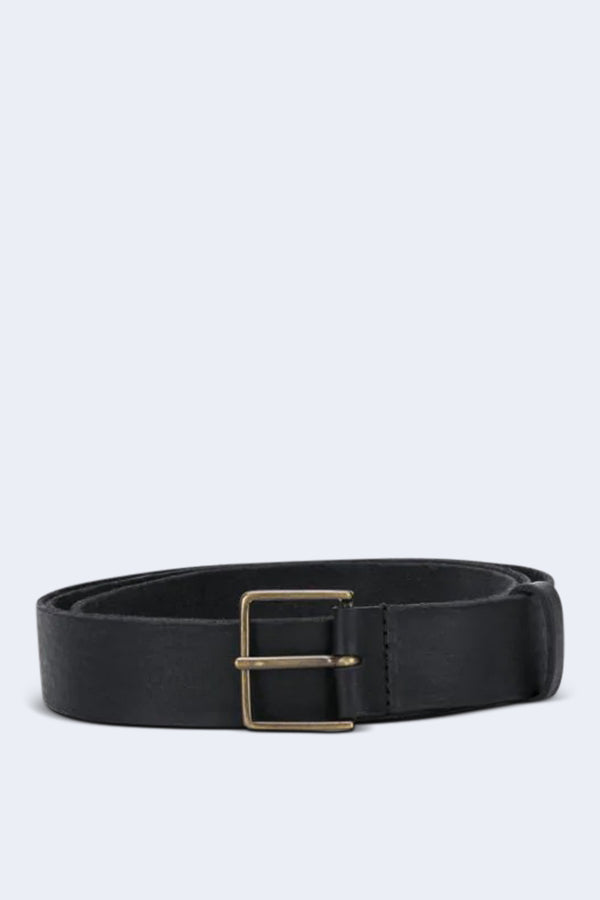 Leather High Belt with Buckle in Nero