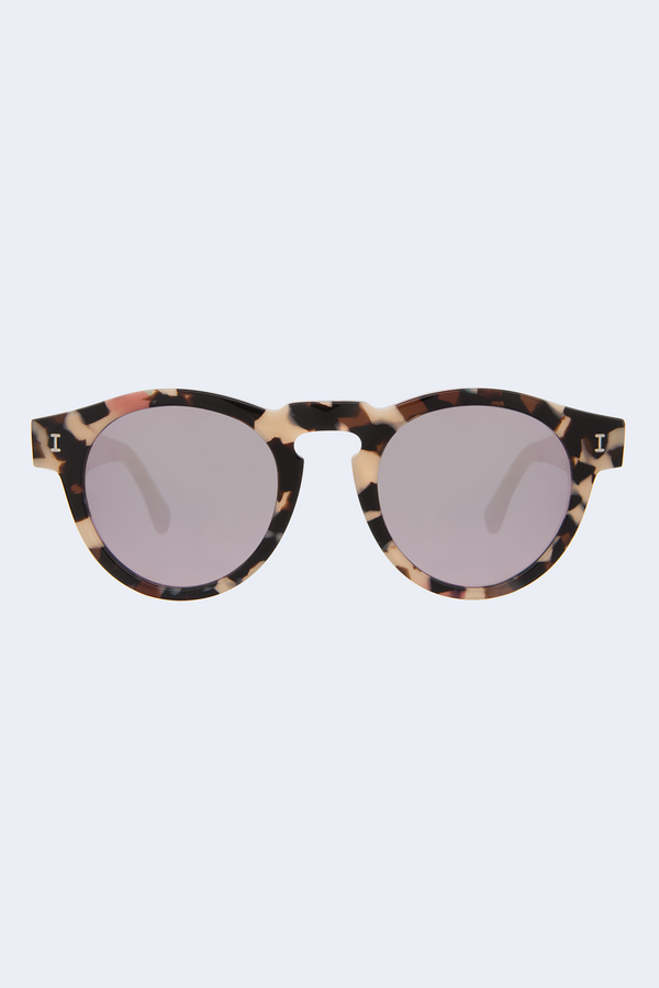 Leonard Rainbow Tortoise Black Sunglasses with Rose Mirror Lens