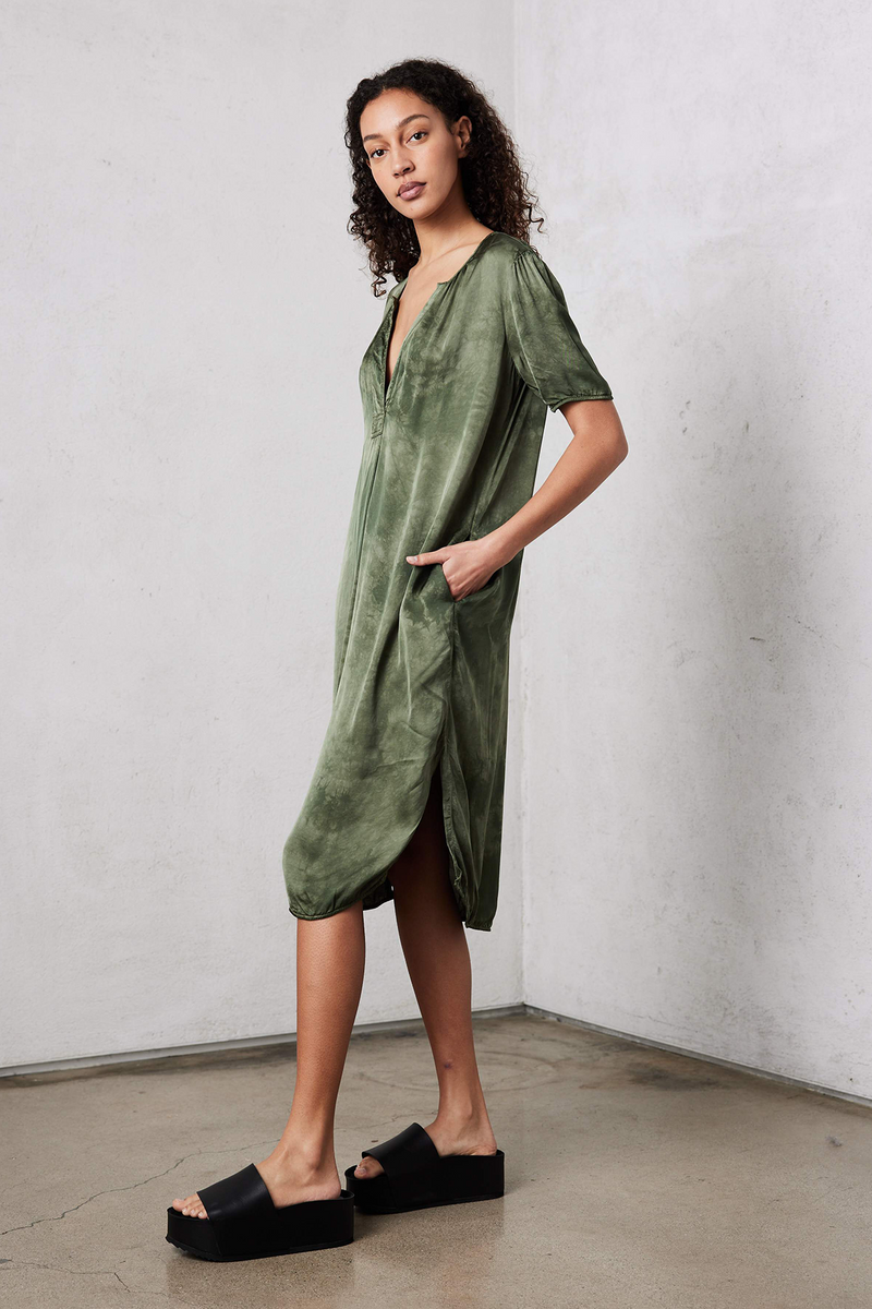Lilakoi Matte Satin Dress in Army Cloudwash Tie Dye