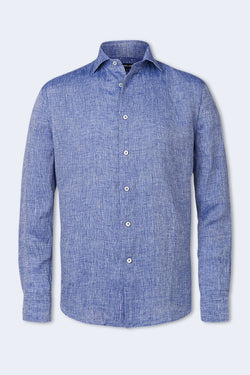 Linen Regular Long Sleeve Shirt in Melange Blue