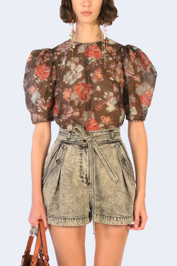 Lise Bouquet Printed Organza Top in Fern