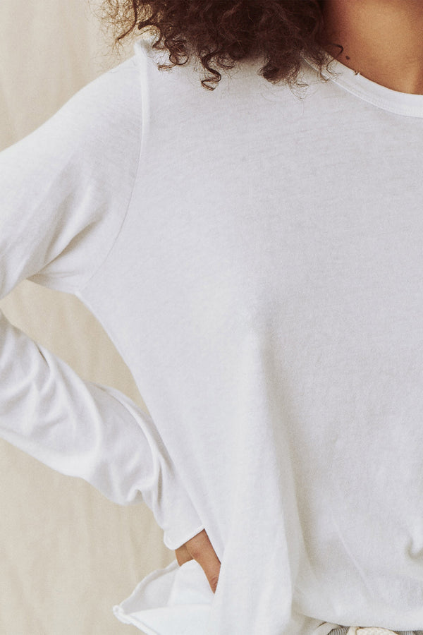 The Long Sleeve Crop Tee in True White