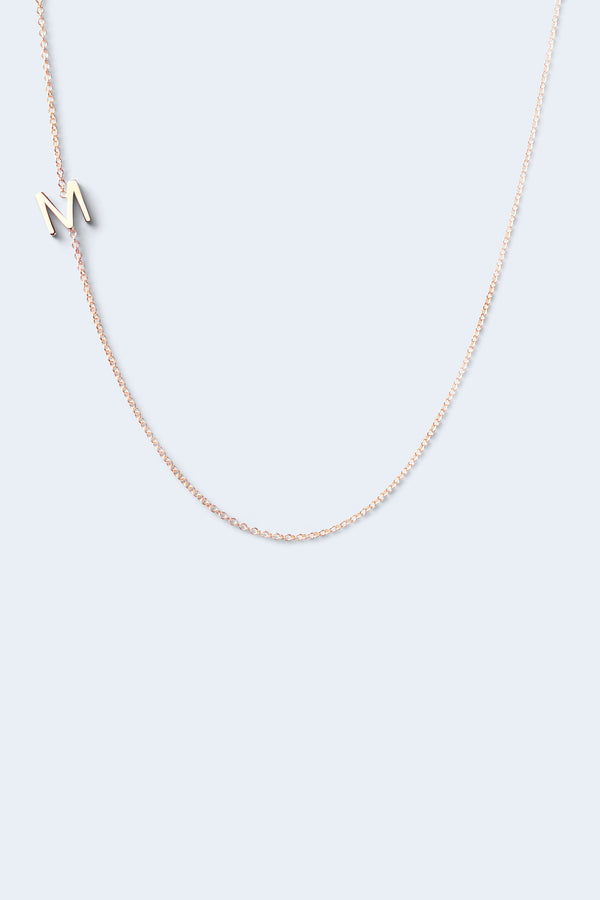 """M"" Alphabet Letter Necklace - Rose Gold"